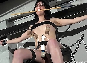 Enslaved Honesty Cabellero nipple clamped together with spanked not susceptible the punishment bench