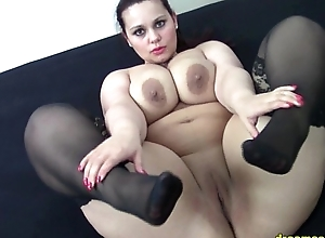 German BBW Samantha teasing moorland stockings more than the bed HD