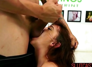 Brunette gets her dirty pussy filled unconnected with a Broad in the beam Dick