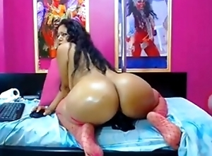 Mature latin mommy rides a black dildo- Tastycamz.com