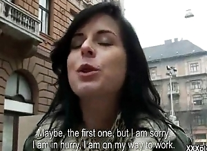 Amateur Czech is most-liked up in the streets &amp_ paid to model &amp_ fuck 11