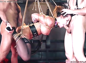 Ill-lit double penetrated during charm threesome