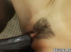 Smoking hot Asian bitch has a black cock down high-pressure