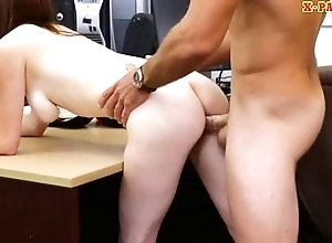 Dirty babe in glasses gets slammed by nasty pawn keeper